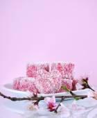 Pink heart shape small lamington cakes — Stock Photo