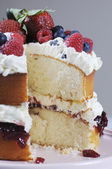 Sponge Layer Cake with fresh berries and whipped cream — Stock Photo