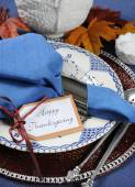 Happy Thanksgiving Dining Table Place Setting — Stock Photo