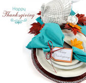 Happy Thanksgiving Dining Table Place Setting — Stok fotoğraf