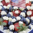Red white and blue berries with fresh whipped cream stars. — 图库照片 #54775887