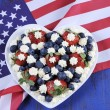 Red white and blue berries with fresh whipped cream stars. — ストック写真 #54776075