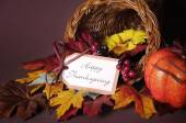 Happy Thanksgiving Table Cornucopia — ストック写真