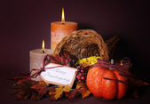Happy Thanksgiving Table Cornucopia — Stock Photo