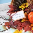 Happy Thanksgiving Cornucopia on Vintage White and blue background — Stock Photo #57554353