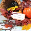 Happy Thanksgiving Cornucopia on Vintage White and blue background — Stock Photo #57554527