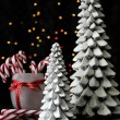 MArry Christmas gift and candy canes with bokeh lights — Stock Photo #59407807