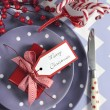 Bright colorful family Christmas table place setting — Stock Photo #59408623