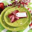 Bright colorful family Christmas table place setting — Stock Photo #59408667