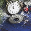 Happy New Year fob pocket watch with minutes to midnight time closeup — Stock Photo #59673691