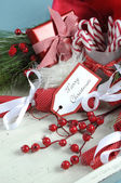 Christmas hamper in shabby chic white tray — Stock Photo