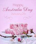 Homemade Australian style pink heart shape small lamington cakes — Stock Photo