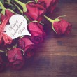 Vintage red roses gift for Valentines Day, birthday or special o — Stock Photo #62565599