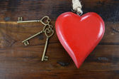 Happy Valentines Day key to my heart concept with large hanging  — Stock Photo