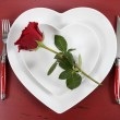 Valentine Red Roses Whie Hearts Table Place Setting — Stock Photo #63108961
