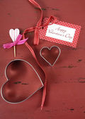 Happy Valentine's Day on red wood background. — Stock Photo