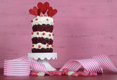 Valentine Triple Layer Red Velvet Cupcake — Stock Photo