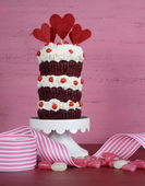Valentine Triple Layer Red Velvet Cupcake — Foto de Stock