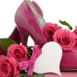 Pink high heels with roses — Stock Photo #64880119