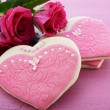 Pink heart shape ladies dresses decorated cookies — Stock Photo #64880539