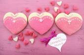 Pink heart shape ladies dresses decorated cookies — Stock Photo