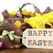 Happy Easter chocolate bunnies and eggs in hamper basket. — Stock Photo #65410895