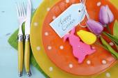 Happy Easter table place setting — Stock Photo