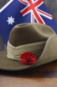 ANZAC slouch hat with Australian Flag — Stock Photo