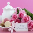 Happy Mothers Day Pink Roses and Tea Setting. — Stock Photo #70535929