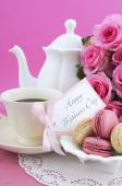 Happy Mothers Day Pink Roses and Tea Setting. — Stock Photo