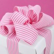 Happy Mothers Day white gift box with pink stripe ribbon. — Stock Photo #71050467