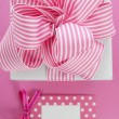 Happy Mothers Day white gift box with pink stripe ribbon. — Stock Photo #71050533