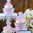 Wedding Day shabby chic style pink cupcakes — Stock Photo #72862743