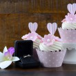 Wedding Day shabby chic style pink cupcakes — Stock Photo #72862829