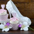 Wedding Day shabby chic style pink cupcakes — Stock Photo #72862853
