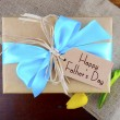 Happy Fathers Day Natural Kraft Paper Gift — Stock Photo #73820651