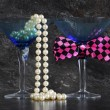 Lets Party male and female cocktail glasses. — Stock Photo #74486231