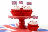 British Cupcakes with Union Jack Flags — Stock Photo