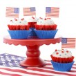Happy Fourth of July Cupcakes on Red Stand — Stock Photo #75304141