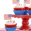 Happy Fourth of July Cupcakes on Red Stand — Stock Photo #75304163
