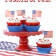 Happy Fourth of July Cupcakes on Red Stand — Stock Photo #75304183