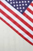 Happy Fourth of July USA Flag on White Wood Table — Stock Photo