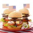 The Great BBQ Hamburger with Flags — Stock Photo #75853529