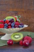 Summer Fruit in Vintage Bowl on Dark Wood Table. — Stock Photo
