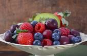 Summer Fruit in Vintage Bowl on Dark Wood Table. — Stock Photo