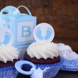 Vintage Style Baby Shower Cupcake and Gift Box — Stock Photo #78804050