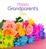Happy Grandparents Day Flowers with Text. — Stock Photo