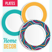 Set of decorative plates. — Stock Vector