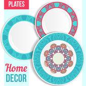 Set di piatti decorativi. — Vettoriale Stock