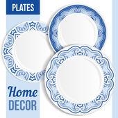 Set of decorative plates. — Stock Vector